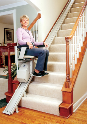 Bruno's SRE-1550 Electra-Ride II Straight Rail Stairlift in San Francisco Bay