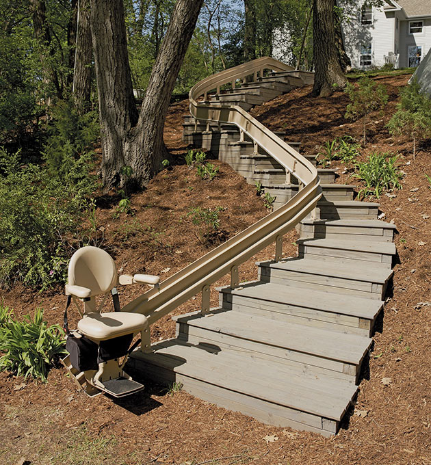 Los-Angeles  outdoor stairlifts are custom curved outside exterior chairstair
